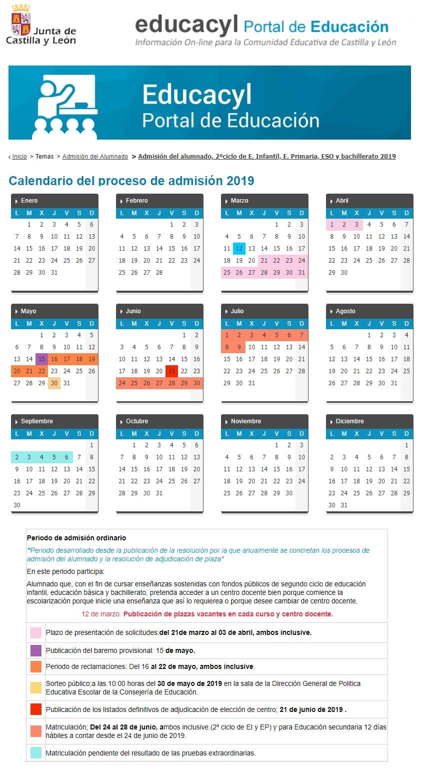 Calendario Educacyl.Calendario Proceso De Admisiones 2019 20